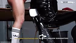 Rubber twink slave pissed on, fucked and bred. Then milked by hot dom! With sex machine