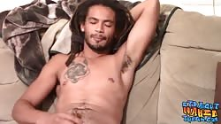 Solo straight black guy Dom Anderson pisses and jacks off